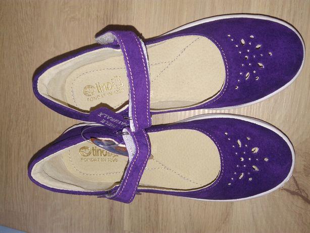 Pantofi fete velur Tino piele