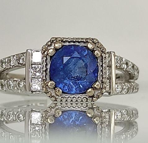 Inel aur 14k cu diamante si safir 2.35ct