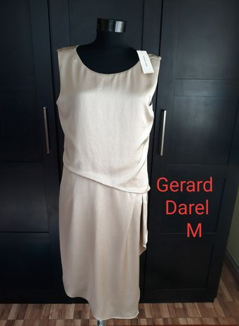 Rochie de ocazie Gerard Darel M, satinată, nude, cu etichetă