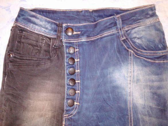 Интересни с сив и син крачол еластични екстравагантни, елегантни дънки гр. Ловеч - image 3