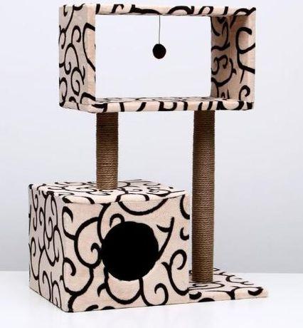 Когтеточка PerseiLine Куб коричневый-бежевый