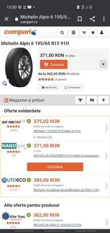 Vând cauciucuri Michelin Alpin 6  195/65/15