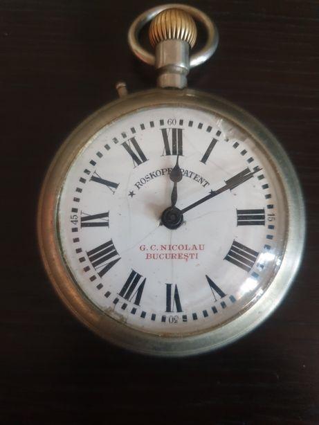 Ceas vechi de buzunar, Roskopf, personalizat G.C. Nicolau București