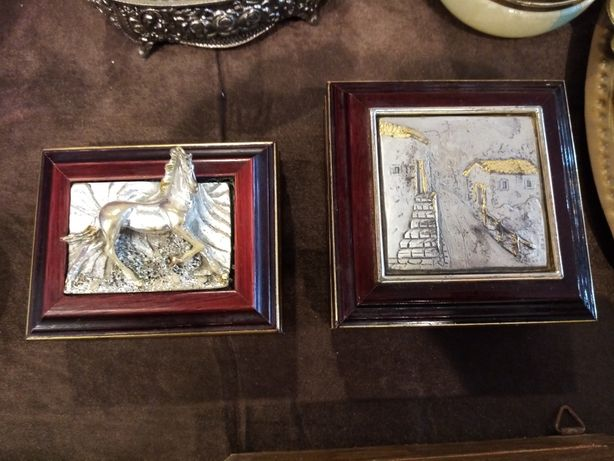 Casete de bijuterii din lemn lucrate cu foita de argint și aur
