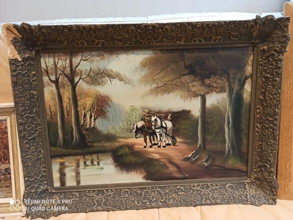 Картина коне в гората