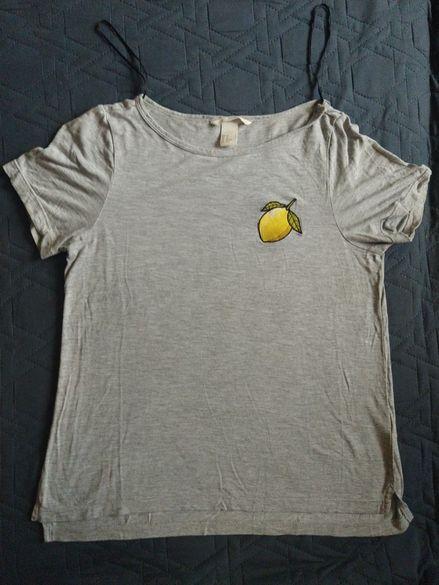 Тениска H&M XS с бродиран лимон