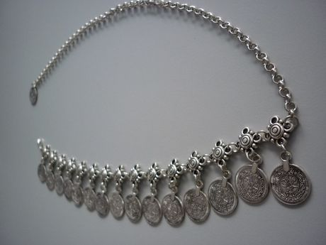 Накит за глава - етно диадема с пендари, имитация злато и сребро