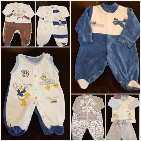 Бебешки плюшени гащеризони, 1-3, 3-6 месеца - Нови!