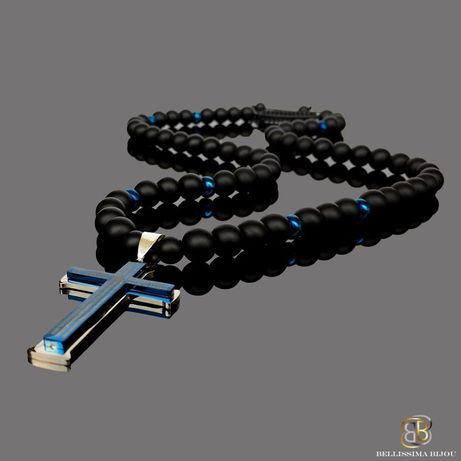 Мъжки Гердан със Син Стоманен Кръст с Молитва