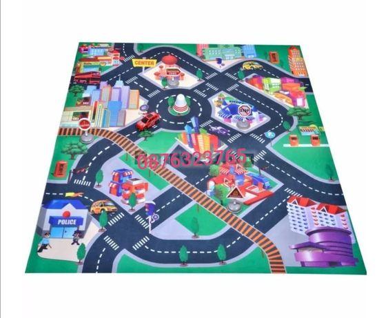Детски комплект Килимче за игра с пътни знаци и количка Детски играчки