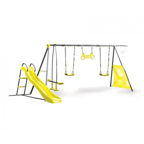 Loc de joaca copii cu cadru metalic tobogan hinta leagan activitati