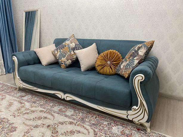 Бирюзовый диван с креслами (почти новый)