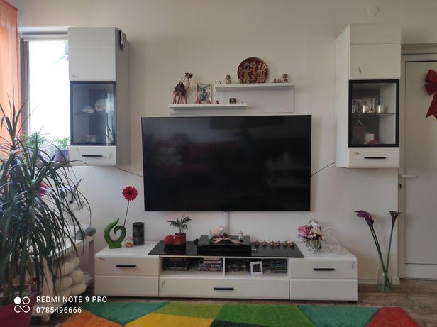 Mobilier living set comoda tv+2xRaft suspendat iluminare LED+polița