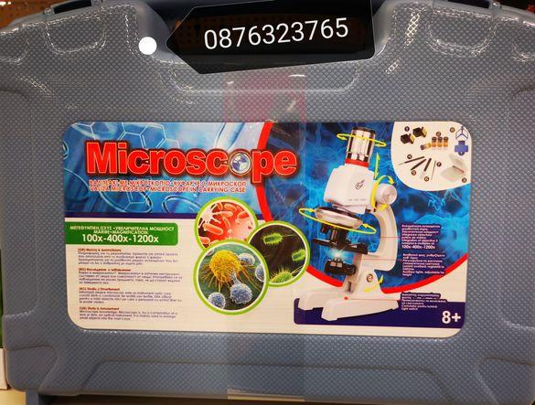 Детски микроскоп с куфарче аксесоари и поставка за телефон  играчки