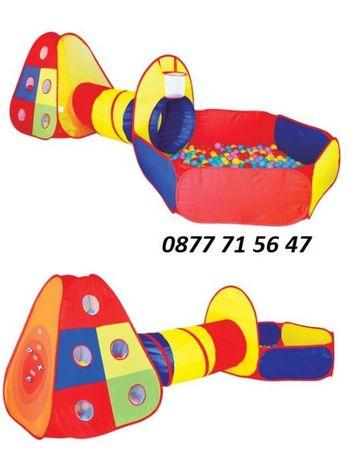 Детска палатка с тунел и басейн цветна + 80 броя топки 300x120x100см