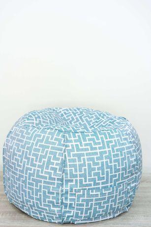 Пуф табуретка в цвят мента от висококачествена мебелна дамаска