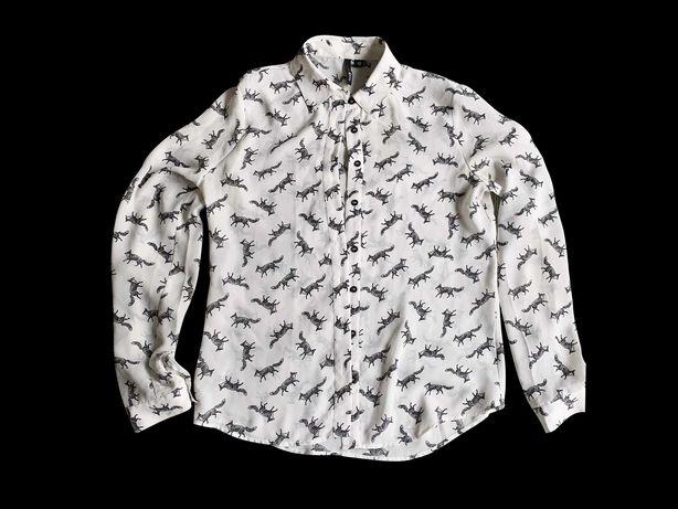 Рубашка Oodji из тонкой ткани с лисами (S)
