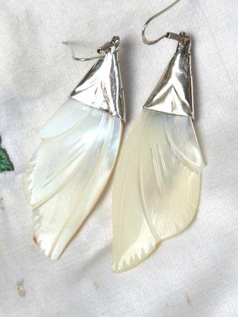 Уникални Старинни Сребърни Седефени Обеци Крила