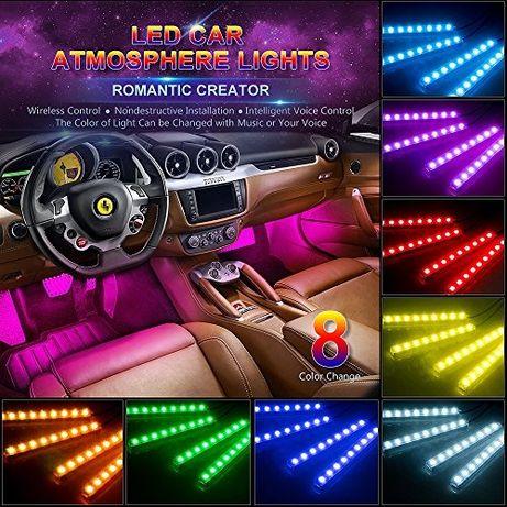 Интериор LED RGB светлинни ленти - кола интериор през телефона