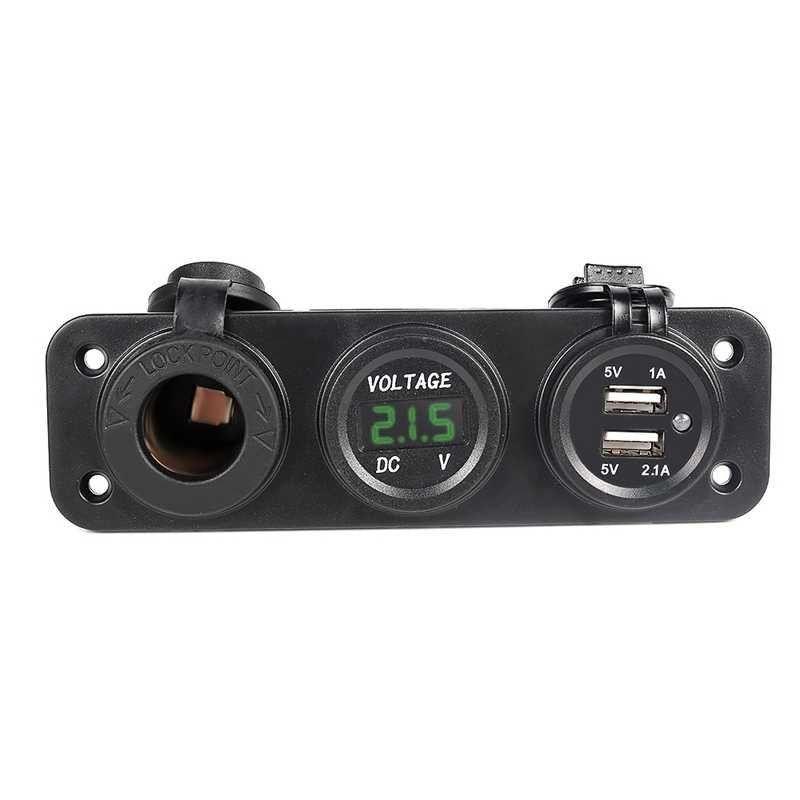 Зарядно за кола AMIO ,3 в 1,Волтметър,USB зарядно двойно 5V 1A,5V