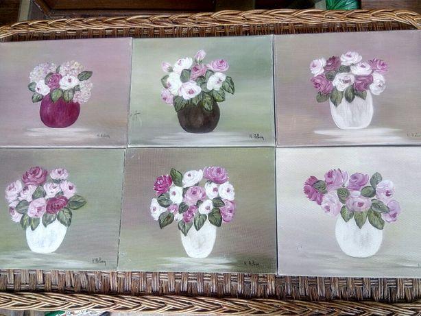 Set 6 tablouri,picturi în ulei pe pânză, semnate de același autor