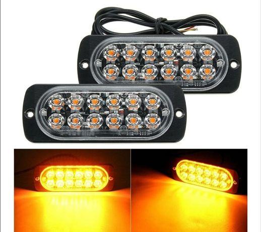 Set Lampi Agabaritice Stroboscop 12 LED-uri Galbene Auto Moto Utilaje