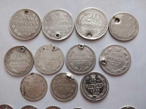 Монеты российской империи (21 шт - серебро)