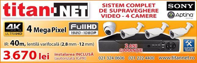 Sistem 4 Camere Supraveghere Video complet 4mp chSONY + Instalare 3670