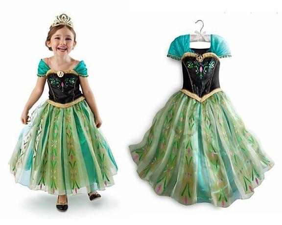 Rochie/rochita Printesa Anna verde- Frozen- accesorii