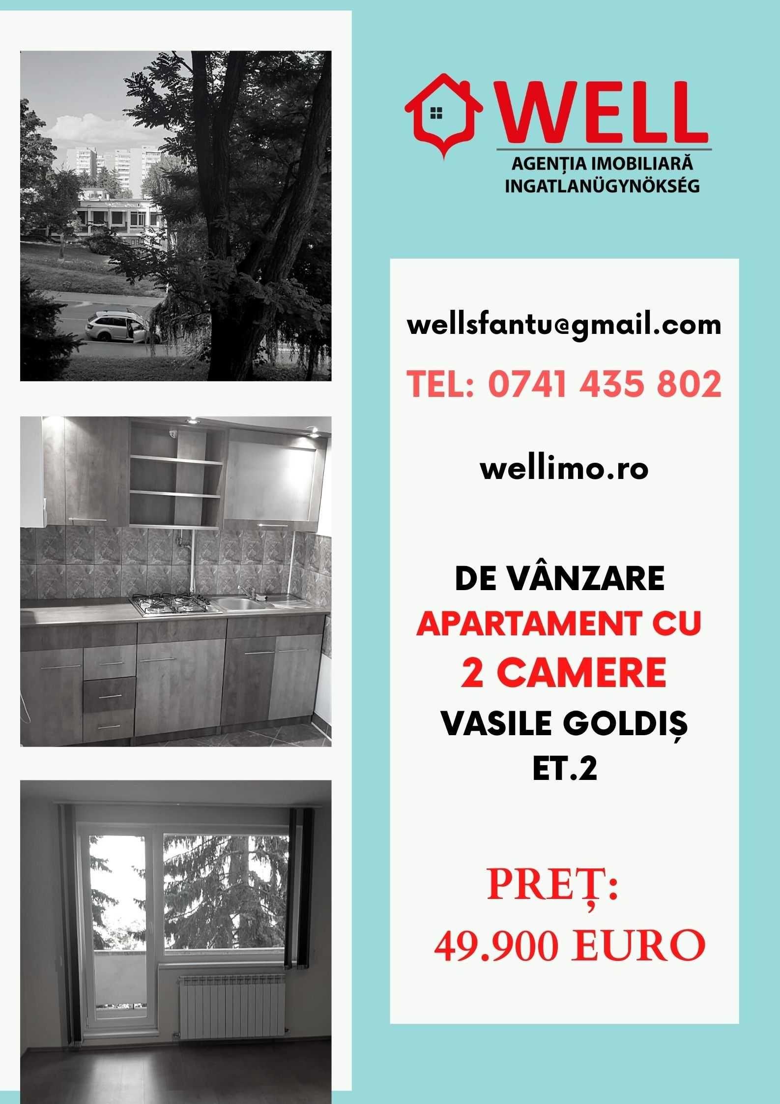 De vânzare apartament cu două camere pe strada Vasile Goldiș