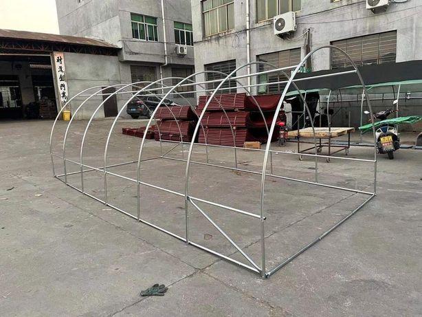 Solar gradina cu schelet metalic 6 x 3 m cu ferestre de aerisire