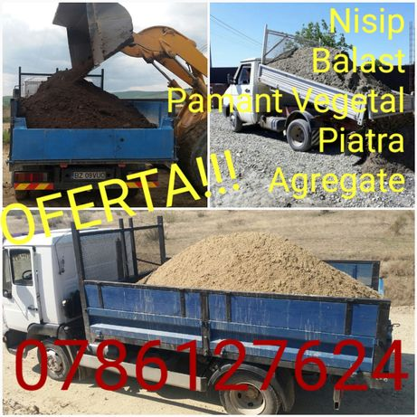 Sub Pretul Pietei!Transport Nisip Balast Pietriș Pamant Agregate Marfa
