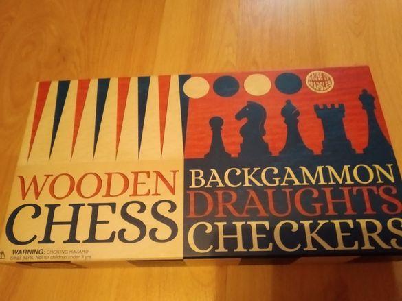 шах, дама и табла- house of marbles- комплект игри- чисто нов