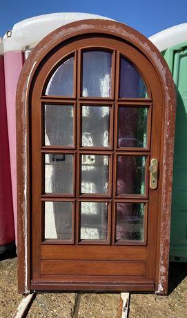 Usa casa boltita firma intrare lemn geam vitraliu termopan H 220 x 124