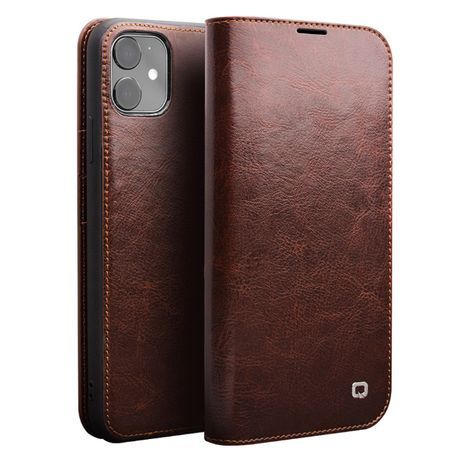 Husa iPHONE 11, piele fina naturala, tip portofel, Qialino, negru,maro
