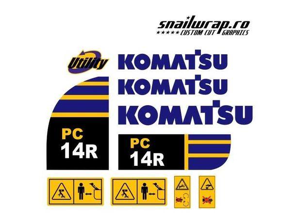 Stickere autocolante Komatsu PC 14R / 16R, WB 93 R / 97 R, PC 26 MR