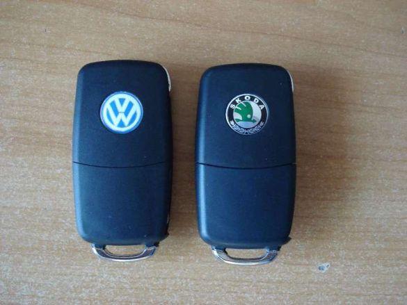 Ключ с 3 бутона vw golf 5,caddy,touran,tiguan,skoda ocktavia 2 до 2010