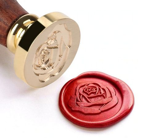 Восъчен печат роза Комплект : печат , лъжица и восък