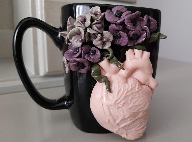 Cana handmade flori din inima