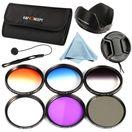 K&F Concept Комплект 6 филтъра UV CPL FLD + 3 градиентни + сенник