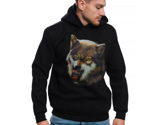 Нов мъжки суичър с дигитален печат зъбат вълк, серия вълци