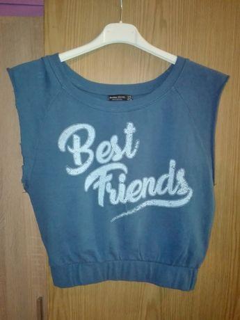 Син памучен топ Бершка / Bershka Best Friends, размер S