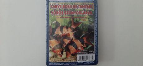 Larve rosii blister 100 gr hrana pesti mancare pesti acvariu
