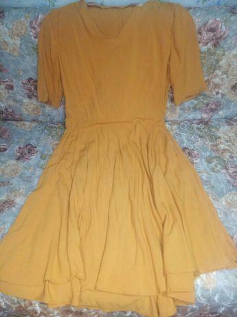 Платье темно жёлтое, сшитое на заказ