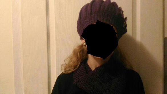 Шал, шапка, ръкавици и детска шапка