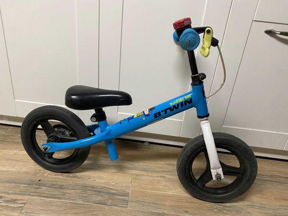 "BTWIN RUNRIDE 500, 10"", детско колело без педали синьо/зелено"