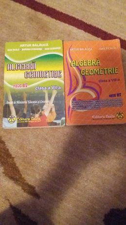 2 cărți Artur Balauca - Algebra, geometrie clasa a VII a,a VIII a