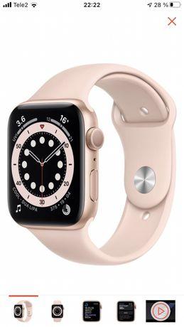 Смарт-часы Apple Watch Series 6 44mm Gold + наушники Air pods в