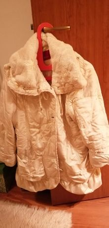 Елегантна,красива шубка-палто, цвят екрю. Якета еко кожа.