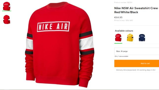 Bluza trening Nike Air originala bumbac noua cu eticheta XL